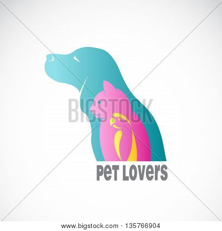 Vector image of an dog cat and bird on white background. / Vector pets for your design.