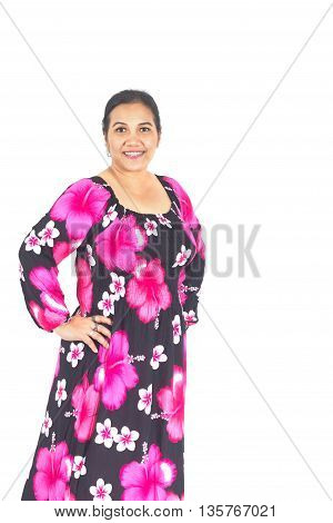Thai Plump Woman With Colotful Dress