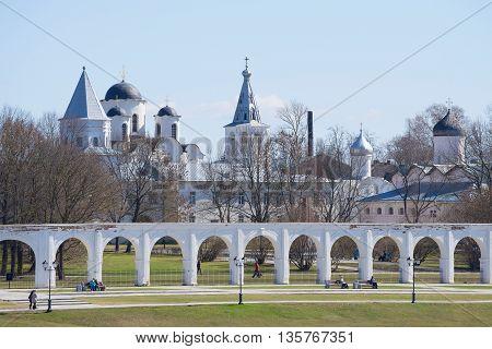 VELIKIY NOVGOROD, RUSSIA - APRIL 18, 2015: April day in the historic part of Veliky Novgorod. The main landmark of the city Veliky Novgorod