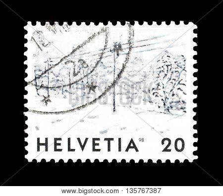 SWITZERLAND - CIRCA 1998 : Cancelled postage stamp printed by Switzerland, that shows landscape.