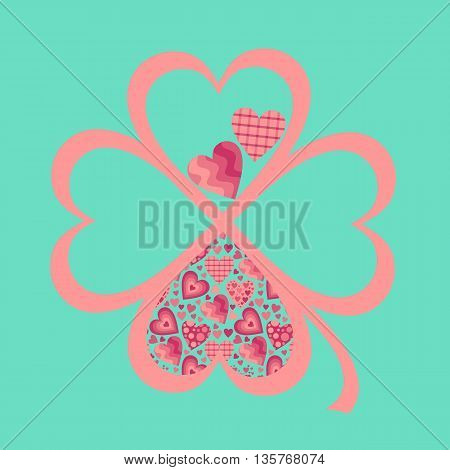 Four-leaf clover from hearts. Vector card for Valentines day.