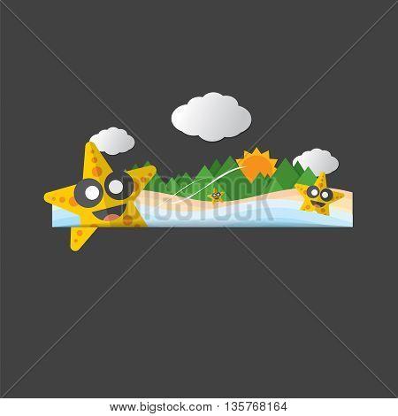 Cute Star Fish Portrait Vector Illustration. EPS 10