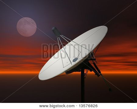 A photo of a satellite dish against a rendered sky
