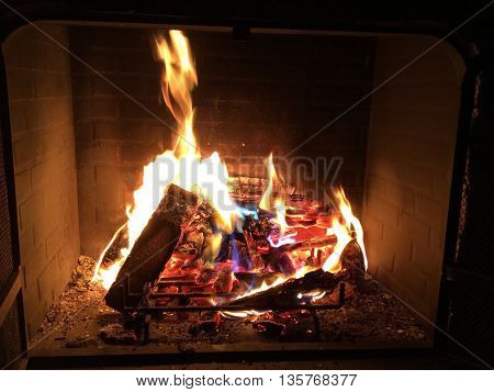 Fireplace with fire and flame