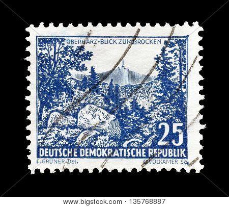 GERMAN DEMOCRATIC REPUBLIC - CIRCA 1961 : Cancelled postage stamp printed by German Democratic Republic, that shows Brocken.