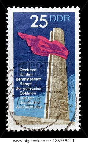 GERMAN DEMOCRATIC REPUBLIC - CIRCA 1972 : Cancelled postage stamp printed by German Democratic Republic, that shows monument.