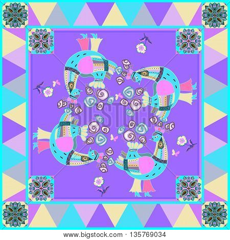 Lovely tablecloth or beautiful bandana print with fairy birds and ornamental border. Vector image. Quilt or Kerchief square pattern design style for print. Multicolor silk neck scarf.
