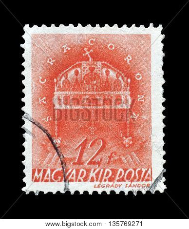 HUNGARY - CIRCA 1941 : Cancelled postage stamp printed by Hungary, that shows Crown of saint Stephen.