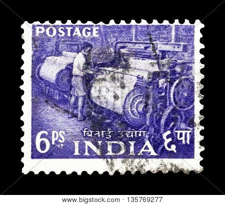 INDIA - CIRCA 1965 : Cancelled postage stamp printed by India, that shows factory worker.