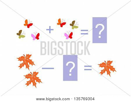 Cartoon illustration of mathematical addition and subtraction. Examples with butterflies and autumn leaves. Educational game for children.