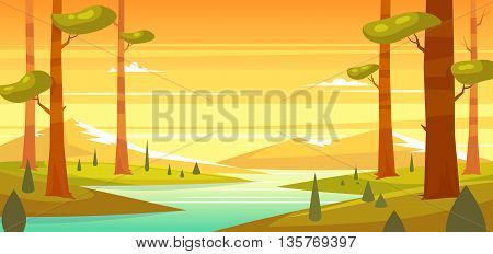 Forest landscape with mountains. Sunny day in the forest. Vector design illustration for web design development, natural landscape graphics.