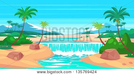 Tropical landscape with waterfall and mountains. Vector design illustration for web design development, natural landscape graphics.