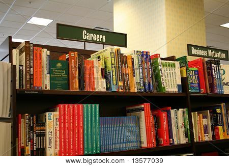 Career Section in Bookstore (Focus on Career Sign)