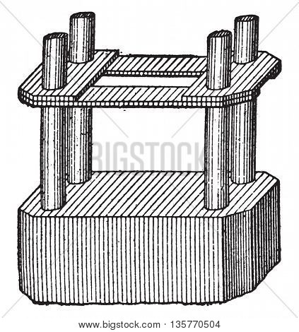 Reinforced concrete pillar, vintage engraved illustration. Industrial encyclopedia E.-O. Lami - 1875.