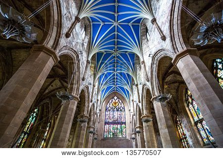 Edinburgh, Scotland - JULY 28, 2012:  The gothic interior of the St. Gile's cathedral.