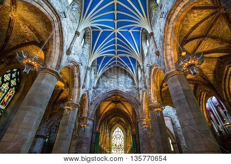 Edinburgh, Scotland - JULY 28, 2012:  The gothic interior of the St. Gile's cathedral