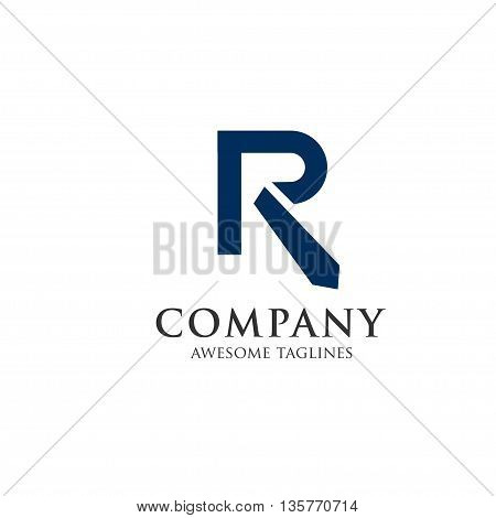 letter r with tie logo, recruitment logo