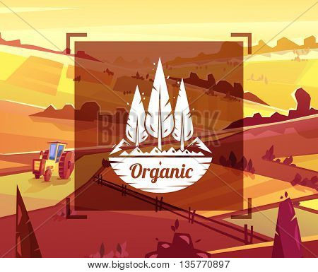 Organic landscape. Vector design illustration for web design development, natural landscape graphics.
