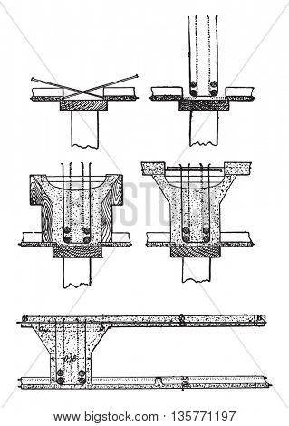 The five main periods of drawing up a floor, Hennebique system, vintage engraved illustration. Industrial encyclopedia E.-O. Lami - 1875.