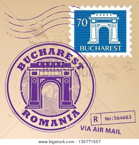 Grunge rubber stamp set with words Bucharest, Romania inside, vector illustration