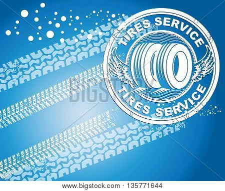 Winter tires abstract blue background, vector illustration