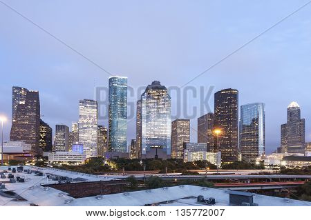 Houston downtown skyline illuminated at night. Texas United States