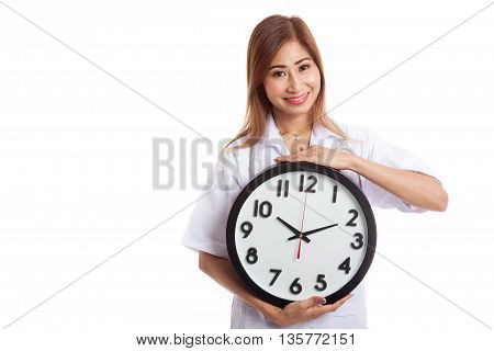 Young Asian Female Doctor Happy Show A Clock
