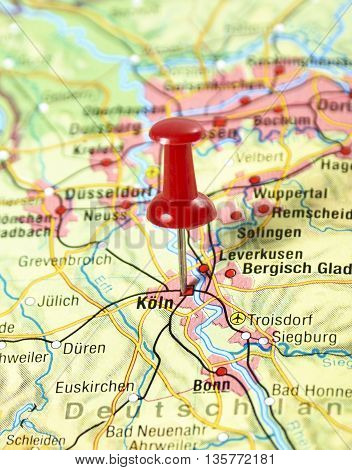 Map with pin set on Cologne, Germany.