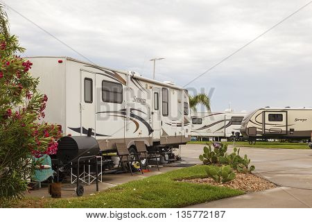 GALVESTON USA - APR 12: Trailer and Recreational Vehicles at a camping site at the Galveston Bay. April 12 2016 in Galveston Texas United States