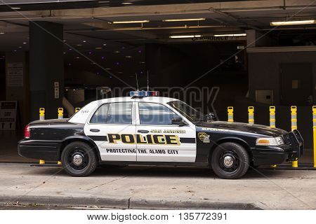 SAN ANTONIO TX USA - APR 11: Police car in the city of San Antonio. April 11 2016 in San Antonio City Texas United States