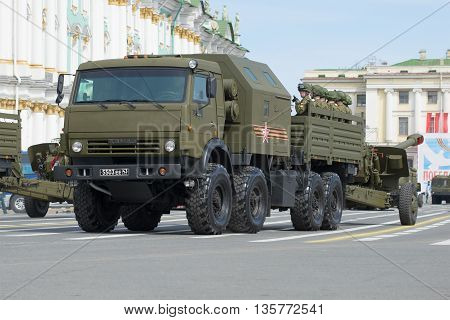 SAINT PETERSBURG, RUSSIA - MAY 05, 2015: Artillery machine on rehearsal of parade in honor of Victory Day. Palace square, Saint Petersburg