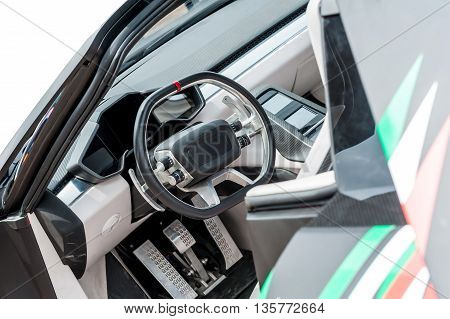 Inside of a modern luxury car isolated