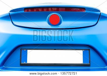 Back of a blue modern car isolated on a white background