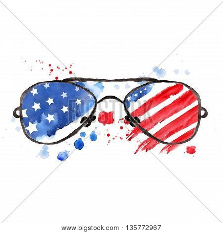Hipster Glasses with stars and strips. Happy independence day. 4th of July. Watercolor illustration