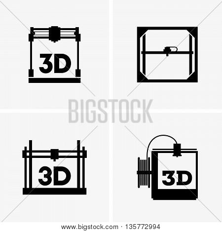 Set of four 3D printings on grey background