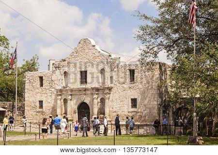 SAN ANTONIO USA - APR 11: The Alamo Mission in San Antonio. April 11 2016 in San Antonio Texas USA