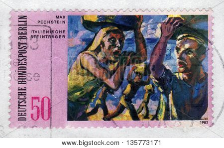 GERMANY - CIRCA 1982: a stamp printed in the Germany  shows italian stone carrier, painting by Max Pechstein, german expressionist, circa 1982;