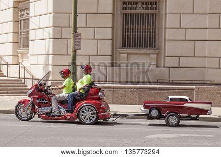 SAN ANTONIO USA - APR 11: Couple on the Honda Goldwing trike with a trailer. April 11 2016 in San Antonio Texas United States
