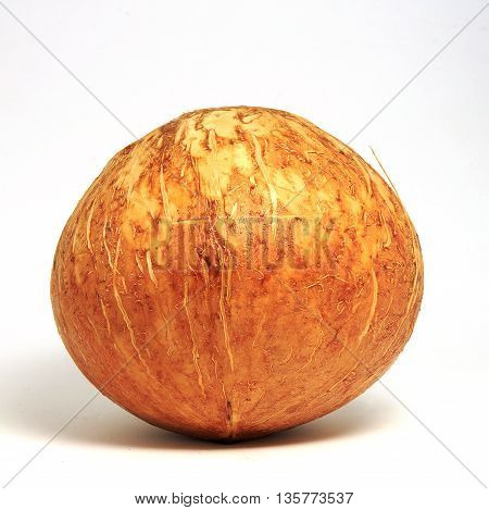 Coconut. Macro. Coconut is whole.Coconut isolated on white.