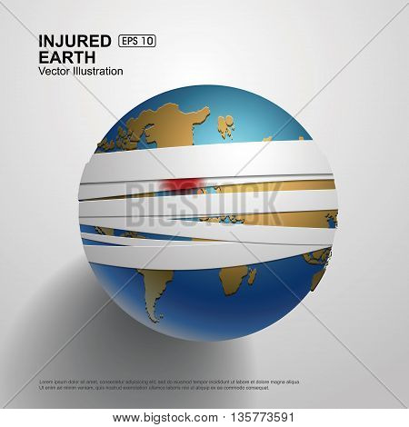 Bandaged Earth,Protect the earth, environmental theme,Vector Illustration.