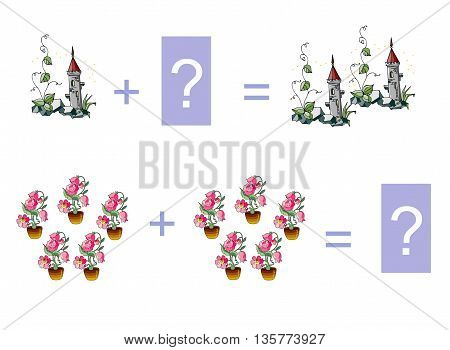 Cartoon illustration of mathematical addition. Examples with fairy towers and fairy houseplants . Educational game for children.