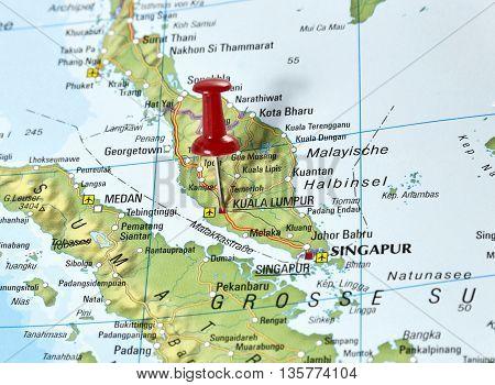 Map with pin set on Kuala Lumpur, Malaysia