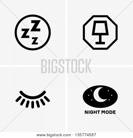 Set of four night modes on grey background