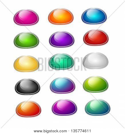 Set of different colored web buttons with silver frame