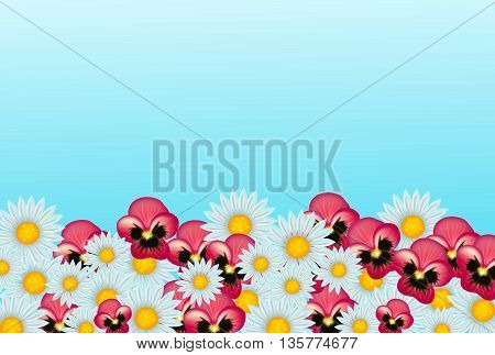 Light blue background with pile of flowers