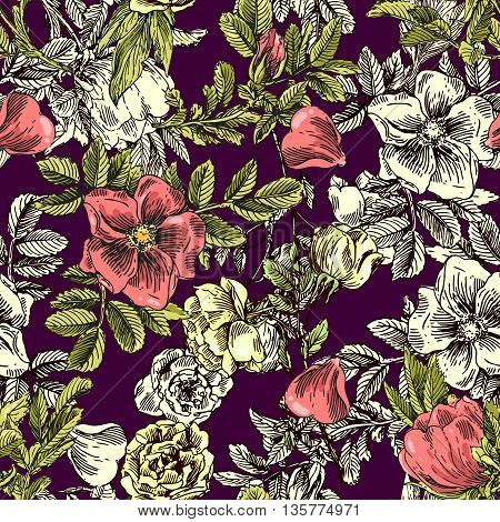 Beautiful hand drawn seamless pattern boho flowers. Patterns for boho-style  wedding invitations and linens. Decorative floral illustration with flowers of roses.