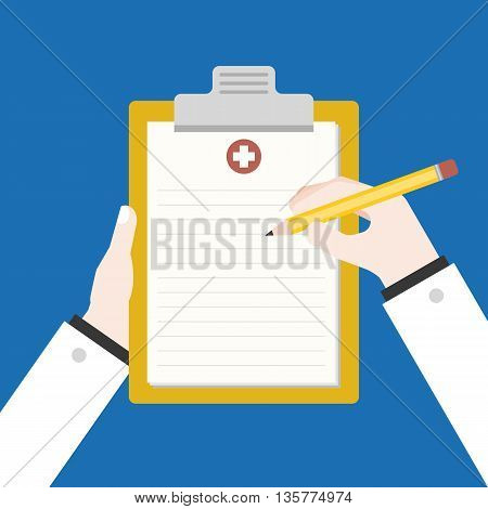 doctor or pharmacist hand writing document,prescription on clipboard illustration , flat design