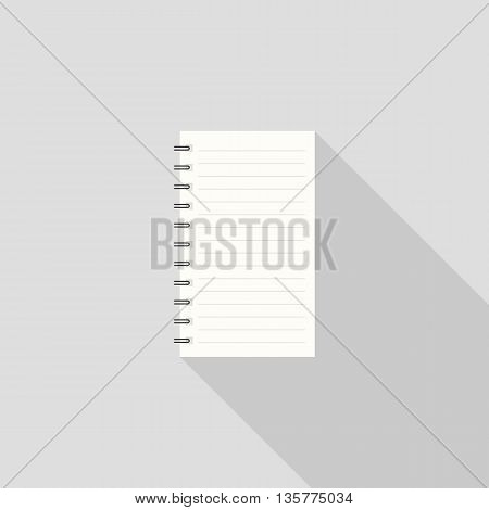 note book icon with long shadow on grey background