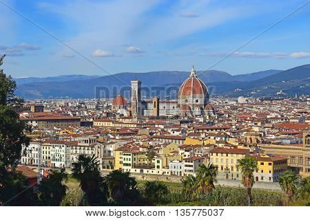 panoramic view of old Florence with Piazzale Michelangelo, Tuscany, Italy