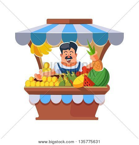 Vector illustration in flat style of farmer selling vegetables in local market. illustration isolated on white background.